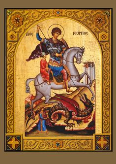 Saint George / Άγιος Γεώργιος Religious Icons, Religious Art, Holy Art, Saint George And The Dragon, Byzantine Icons, Catholic Saints, Orthodox Icons, St Michael, Old English