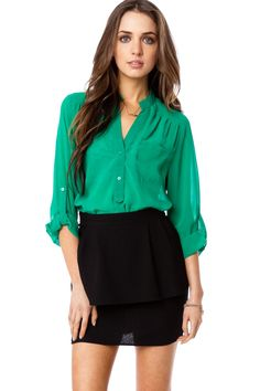 ShopSosie Style : Pure Chiffon Blouse in Kelly Green