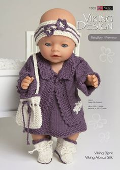 Ideas baby born stricken doll clothes for 2019 Knitting Dolls Clothes, Knitted Dolls, Doll Clothes Patterns, Knitted Hats, Baby Knitting, Crochet Baby, Knit Crochet, Girl Dolls, Baby Dolls
