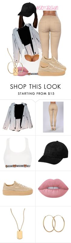 """Not feeling this one."" by sierralashun on Polyvore featuring Moschino, Puma, Lime Crime and Trina Turk"