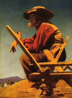 Maxfield Parrish  The Philosopher (aka The Farmer) This website has a nice selection of print art