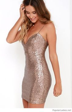 beautiful-bronze-sequin-bodycon-dress-design  bodycondresshomecoming Bodycon  Dress Short fa1023029777