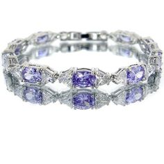 Tanzanite Color CZ Oval Silver Tone Bracelet BC307 *** Visit the image link more details.