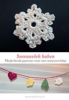 Makkelijk haakpatroon van een sneeuwvlok. Onderdeel van een kerstslinger van katoen (op de site staan ook patronen van een kerstboom, ster en hartje). Gratis en Nederlands patroon. Diy Crochet And Knitting, Crochet Hooks, Free Crochet, Crochet Winter, Types Of Yarn, Textile Artists, Chain Stitch, Handicraft, Christmas Diy