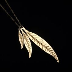 Beautiful 24 k Gold Filled Feather Pendants by sophiesimone, $95.00