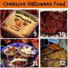 Halloween Food: 9.Terrifying Tamale Pie 10.Jello Blod Worms 11.Monster Mouth Stuffed Shells 12.Toenail Brittle
