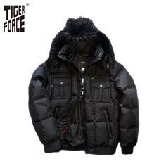 TIGER FORCE 2016 High Quality Men White Duck Down Jacket Winter Hooded Down Jacket With Fox Fur Collar Free Shipping D-332F