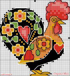 """Спать рановато... зашла на Осинку, а там девочка хочет схему """"Петушка"""" от Панны И мне он приглянулся, маленький, да удаленький символ года грядущего... Rooster Cross Stitch, Chicken Cross Stitch, Cross Stitch Kitchen, Cross Stitch For Kids, Cross Stitch Needles, Cross Stitch Animals, Folk Embroidery, Cross Stitch Embroidery, Easter Cross"""