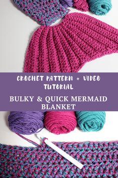 Bulky & Quick Mermaid Blanket - MJ's off the Hook Designs Crochet Mermaid Tail Pattern, Mermaid Blanket Pattern, Crochet Mermaid Blanket, Crochet Baby, Knit Crochet, Mermaid Blankets, Crochet Beanie, Crochet Dolls, Loom Knitting Projects
