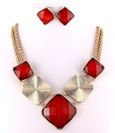 Polished Gold Metal Red Squares Facet Lucite Fashion Necklace Set  #FashionJewelry
