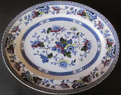 English Porcelain - Mid Winter Oval Meat Platter 'Blue Jacobean' for sale in…