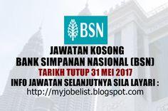 Jawatan Kosong di Bank Simpanan Nasional (BSN) - 31 Mei 2017  Jawatan kosong terkini di Bank Simpanan Nasional (BSN) Mei 2016. Permohonan adalah dipelawa daripada warganegara Malaysia yang berumur tidak kurang daripada 18 tahun ke atas pada tarikh tutup iklan jawatan dan berkelayakan untuk mengisi kekosongan jawatan kosong terkini di Bank Simpanan Nasional (BSN) sebagai :1. Senior Executive / Executive Strategic ManagementTarikh tutup permohonan 31 Mei 2017 Lokasi : Kuala Lumpur Sektor…
