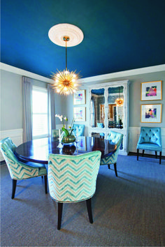 blue ceiling