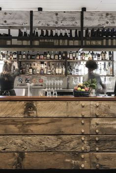 Industrial bar, industrial bar design, rustic bar design and rustic bar design in Australia, The Nelson recycled timber bar counter - - italianbark 3 Pub Interior, Bar Interior Design, Pub Design, Back Bar Design, Design Kitchen, Rustic Design, Wood Design, Rustic Industrial, Industrial House
