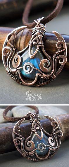 Fantasy wire wrapped pendant // Labradorite fantasy wire wrap necklace // Copper fantasy necklace // Artifact pendant // Artifact necklace