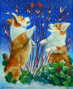 Pembroke Welsh Corgi Pets Original Painting Snow Babies OOAK Fine Art by LyN