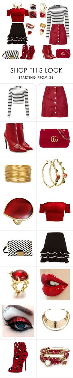 """trip at spain riviera"" by svetlozeme on Polyvore featuring Miss Selfridge, Boohoo, Alexander McQueen, Gucci, Disney, Ippolita, Mulberry, Jonathan Simkhai, Wallis and Giuseppe Zanotti"