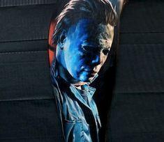 movies tattoo Michael Myers tattoo by Michael Taguet Micheal Myers Tattoo, Michael Myers Drawing, Horror Movie Tattoos, Horror Films, Michael Myers Memes, Family Tattoo Designs, Spooky Tattoos, Watch Tattoos, World Tattoo