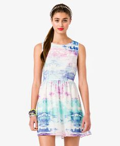 Watercolor Sky Fit & Flare Dress - Forever 21