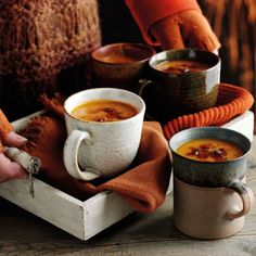 Stay warm and cosy with a mug of hot soup and fabrics in beautiful burnt orange tones...