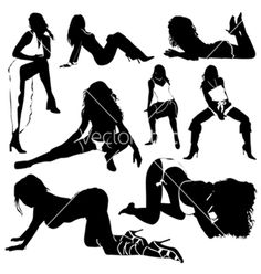 Set of sexy women silhouettes vector Poses Boudoir, Boudoir Photography Poses, Picture Poses, Photo Poses, Fotografia Sexy, Sexy Drawings, Girl Silhouette, Sexy Poses, Photos