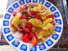 Ensalada de patata, tomate y cebolla