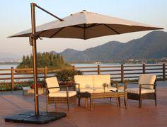 3x4mt patio umbrellaalu frame polyester cover - Large Patio Umbrellas