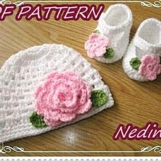Crochet baby beanie and shoes set pattern.  Flower ornaments.