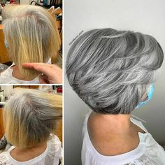 Instead Of Covering Grey Roots, This Hair Colorist Makes Clients Embrace It (30 New Pics) Grey Hair Styles For Women, Hair Color For Women, Short Hair Cuts For Women, Natural Hair Styles, Short Hair Styles, Girls Natural Hairstyles, Grey Hair Undercut, Undercut Hairstyles, Cool Hairstyles