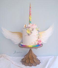 Jessicabakes.co.uk Rainbow unicorn cake with wings.
