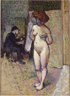 """""""Matisse in the studio of Manguin,"""" (attributed title: """"Nude in the Studio"""") Henri Charles Manguin, 1905. oil on cardboard, 1900-1909, 39.3 x 28.75"""", Musee National d'Art Moderne, Centre Georges Pompidou, Paris."""