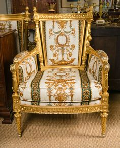 "Large Pair of Louis XVI Style Bergeres ""Versace Collection"" 