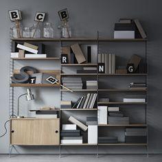 Grande bibliothèque en chêne avec buffet String® Furniture