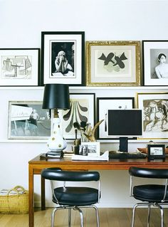 The chairs, the lamp the gallery wall - what's not to love in this office!!!