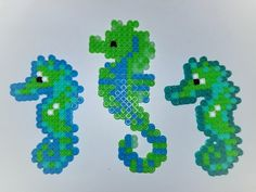 Our bright seahorse perler magnets!