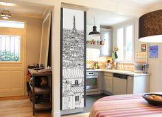 Papier peint original & décoration murale en édition limitée : Oh My Wall papier peint Vue de Paris Tour Eiffel DECO par Thomas Lable alias Materz