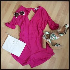 Hot pink romper Brand new with tags. Missing belt and has a few very small black stains in the front(pic) and one pen mark inside(go figure lol) - honestly very unnoticeable. Has pockets. Designed in Australia. 100% polyester. This romper is size medium and it fits me very loose around the waist(last pic)  and probably best worn with a belt. (Not included) 18 inches across the bust and waist and 13 inches from waist down. The full romper is 28 inches. Clutch and shoes also on sale in my…