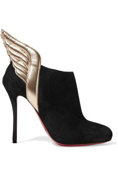 Heel measures approximately 100mm/ 4 inches Gold leather, black suede Zip fastening along back Come with dust bag Made in Italy
