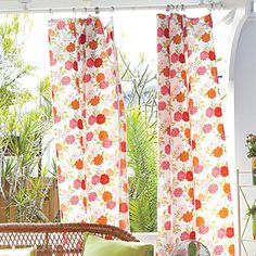 Make your own curtains: Protect the porch (and your family) from the sun with flowing curtains. #DIY