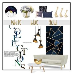 white blue gold by levai-magdolna on Polyvore featuring interior, interiors, interior design, home, home decor, interior decorating, Design House Stockholm, Global Views, Georg Jensen and Mitchell Gold + Bob Williams
