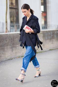 Natasha Goldenberg wearing Commes Des Garçons and LV shoes at Paris Fashion Week Fall 2015
