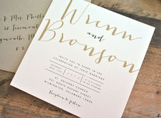 Square Bronson Wedding Invitation Suite with Ribbon Tie and Monogram Tag - Champagne Gold, Black, Ivory (colors/text customizable)