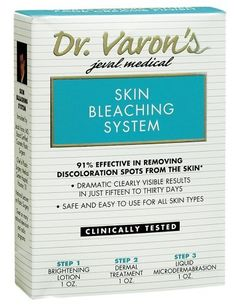 Dr.Varon's Skin Bleaching System, 3-Ounce Boxes by Dr.varon's. $17.31. Removes blemishes and dark discolorations. Safe for all skin types. For skin. Results in skin exfoliation; aging spots will fade away within 15-30 days. 91% effective. Formulated by a board certified plastic surgeon. First and only skin care system to remove blemishes and dark discolorations within 15 to 30 days