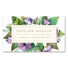 Modern Painted Floral Motif Florist Craft Artist Double-Sided Standard Business Cards (Pack Of 100)