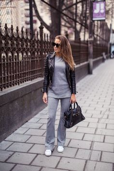 kenza zouiten adidas originals superstars leather jacket street style