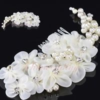 Floral Rhinestoned Bridal Wedding Hair Comb w/ Pearl Party Prom Headpiece Clip