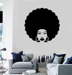 Vinyl Wall Decal Afro Hair Style Beauty Salon Stylist (ig4189)