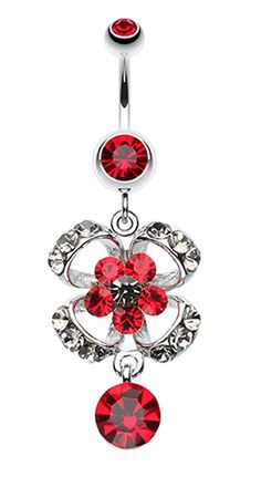 Classy Bow-Tie and Flower Belly Button Ring 14 GA 1.6mm Sold Individually - Red