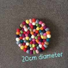 Placemat - NZ wool felt ball 20cm Felt Ball, Placemat, Wool Felt, Sprinkles, Flamingo, Candy, Table, Sweet, Wool Felting