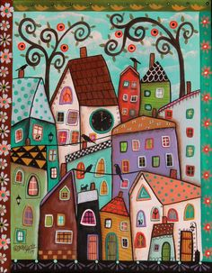 Afternoon ORIGINAL CANVAS PAINTING Folk Art Birds Cats Houses Clock Karla G
